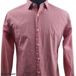 Ben Sherman Casual Button Flip Cuff Red Shirt Sz M